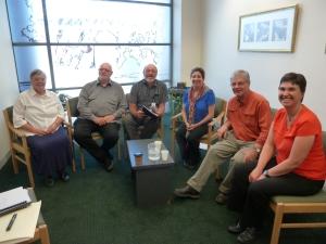 Shoshana's review committee (l to r): Barbara Messner; Les Underwood; Jeff May; Shoshana; Bob Kempe; Liz Dyson.